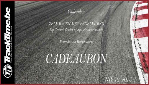 Cadeaubon Zelf Racen Met Begeleiding Op Circuit Zolder Spa Francorchamps